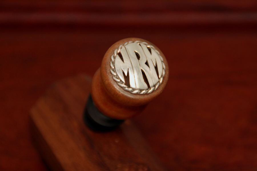 Monogram Wine Stopper - Large size with Rope Trim