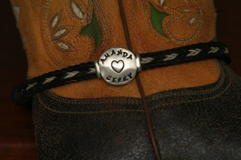 Stamped Disc on a Horsehair Anklet