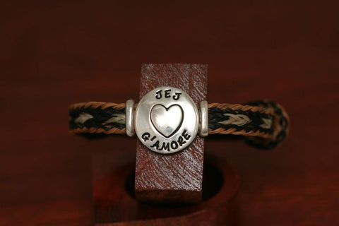 Stamped Disc on a Horsehair Bracelet