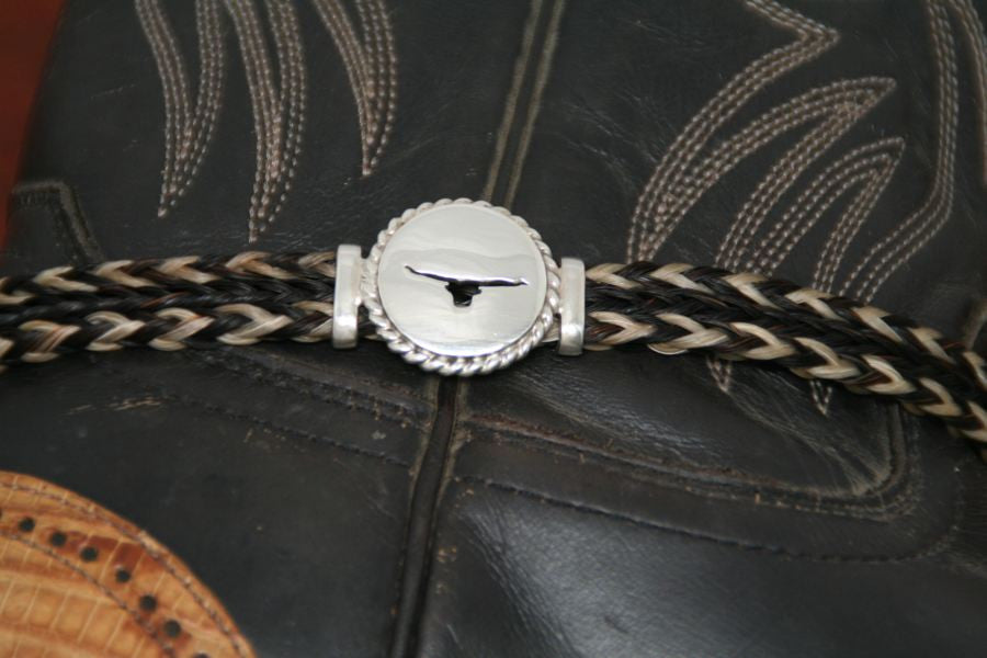 Small Longhorn Disc with Rope Trim -Charm on a Boot Bracelet