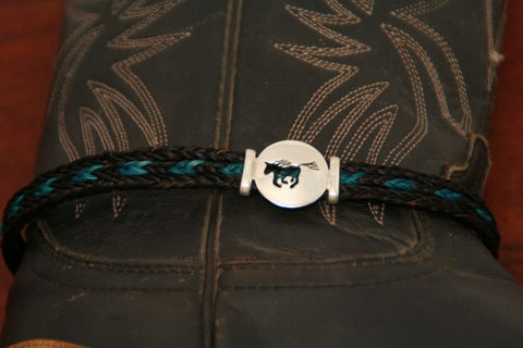Small Running Horse Disc-Charm on a Boot Bracelet
