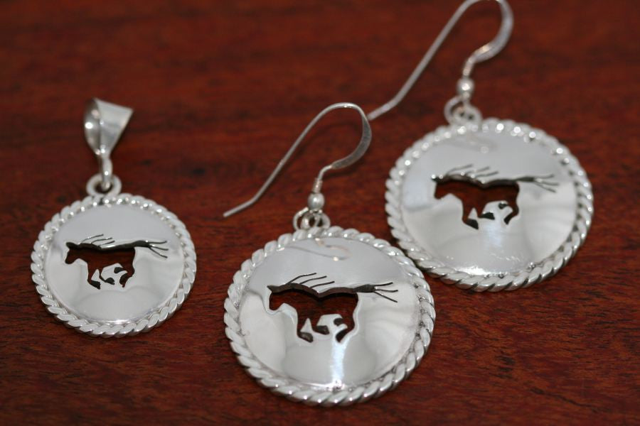 Small Running Horse Disc with Rope Trim -Earrings