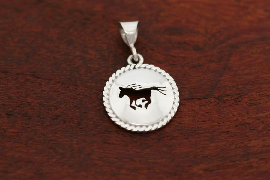 Small Running Horse Disc with Rope Trim -Pendant