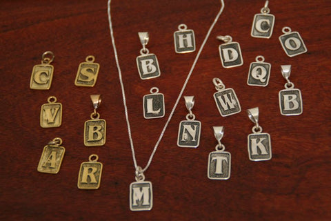 Small Rectangle Initial Charms-Brass
