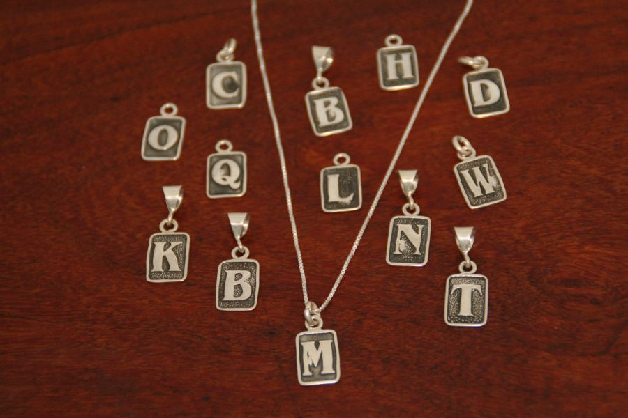 Small Rectangle Initial Charms-Sterling