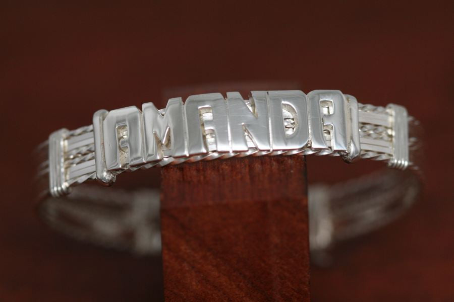 Sterling Silver, 8 Tier Wire Bracelet with Large SS Name