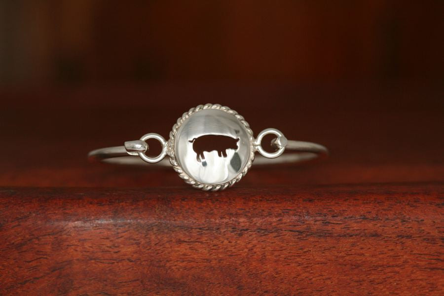 Small Swine Disc with Rope Trim -Charm on a Bangle Bracelet