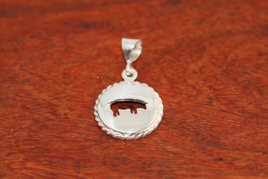 Small Swine Disc with Rope Trim -Pendant