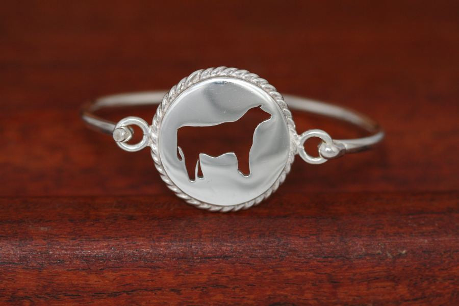 Small Steer Disc with Rope Trim -Charm on a Bangle Bracelet