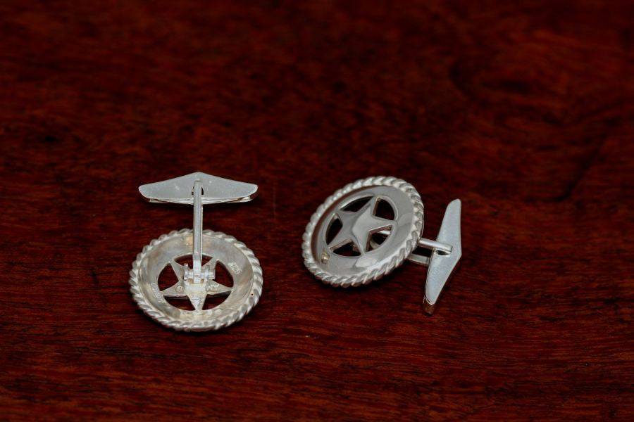 Small Texas Star Cuff Links with Rope Trim