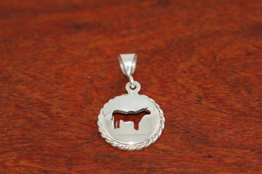 Small Steer Disc with Rope Trim -Pendant