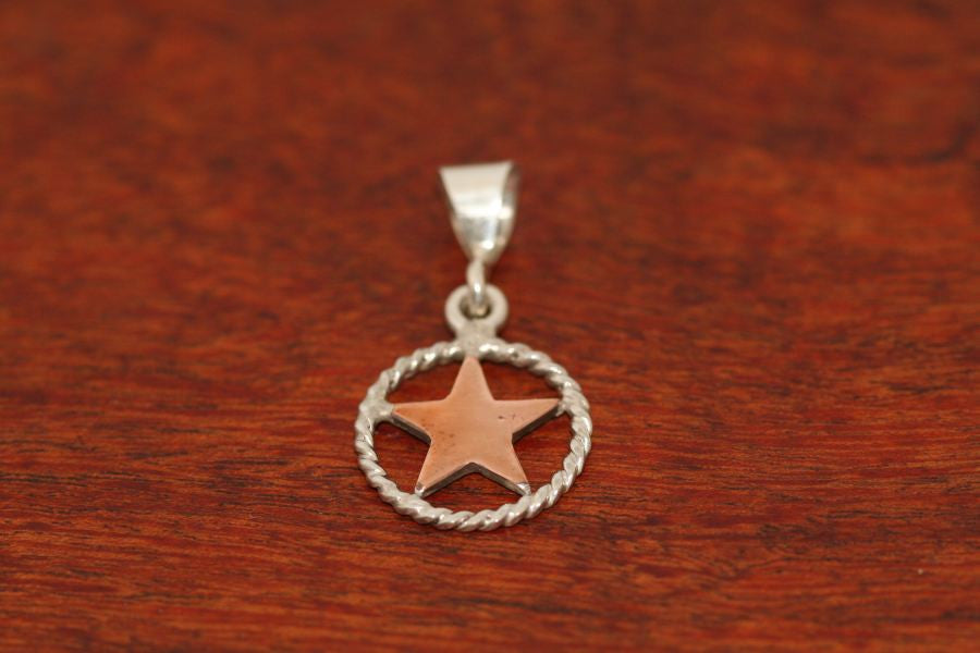 Small Shooting Star Pendant  in Copper with Rope Trim in Sterling