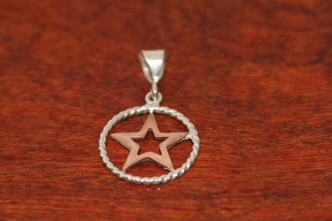 Small Star in Star Pendant  in Copper with Rope Trim in Sterling