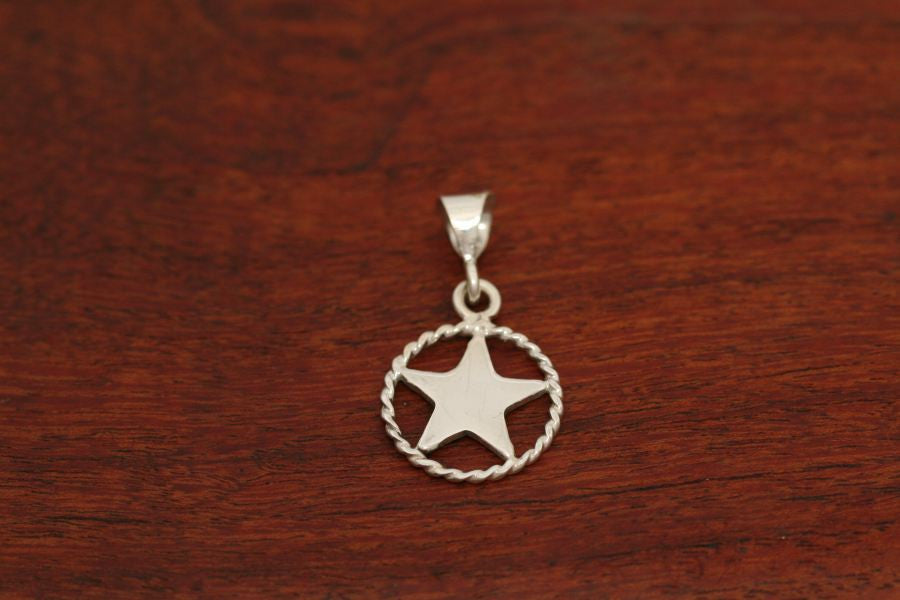 Small Shooting Star Pendant with Rope Trim in Sterling