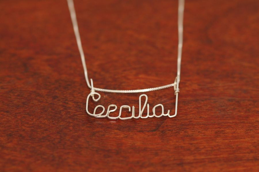 Small Wire Name Pendant-Sterling Silver