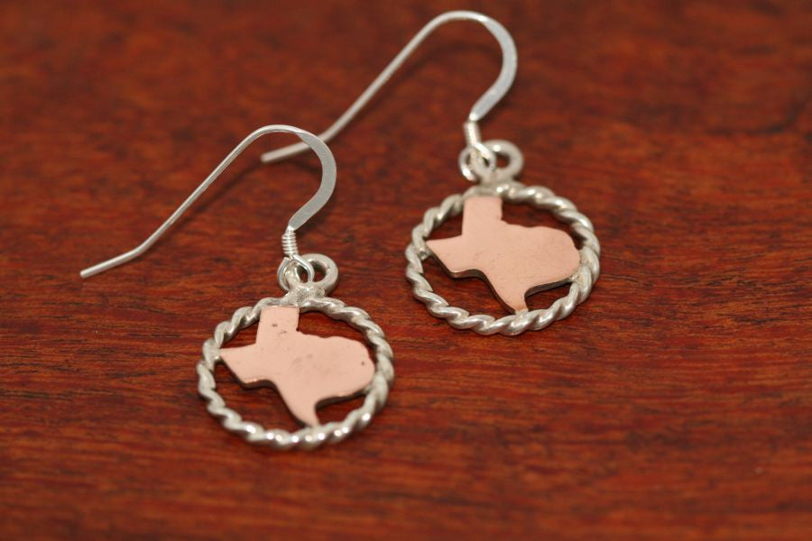 Texas Map in Copper with Sterling Rope Trim -Small Earrings