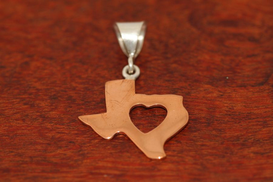 Texas Map with Heart Pendant in Copper-Large