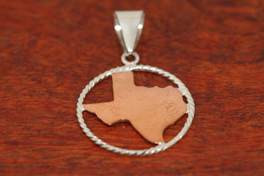Texas Map in Copper with Sterling Rope Trim in- Large