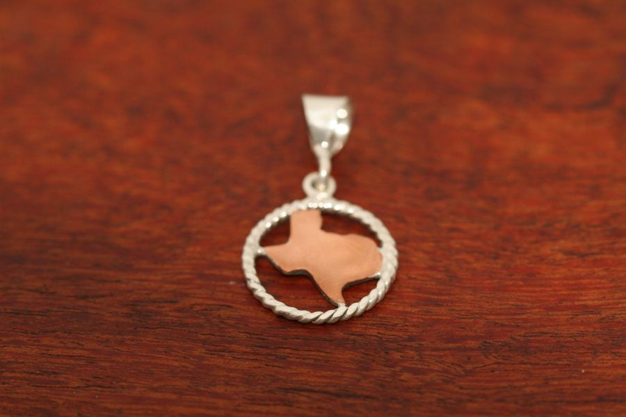 Texas Map in Copper with Sterling Rope Trim -Small
