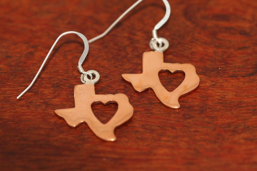 Texas Map with Heart Earrings in Copper-Medium