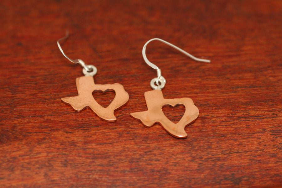 Texas Map with Heart Earrings in Copper-Small