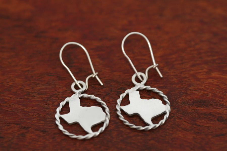 Texas Map Earrings with a Rope Trim in Sterling-Small