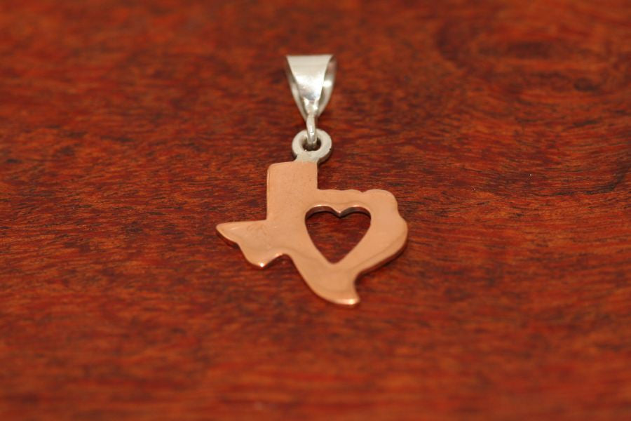 Texas Map with Heart Pendant in Copper-Medium
