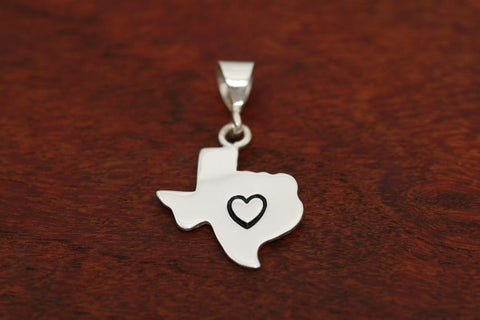 Texas Map Pendant in Sterling-Medium