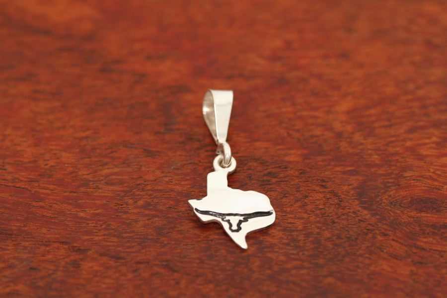 Texas Map Pendant in Sterling-Small