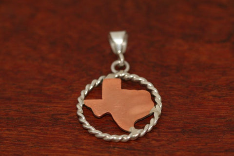 Texas Map in Copper with Sterling Rope Trim -Medium