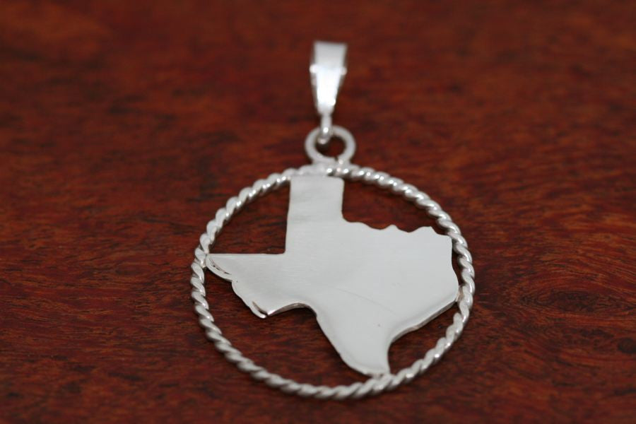 Texas Map Pendant with a Rope Trim in Sterling-Large