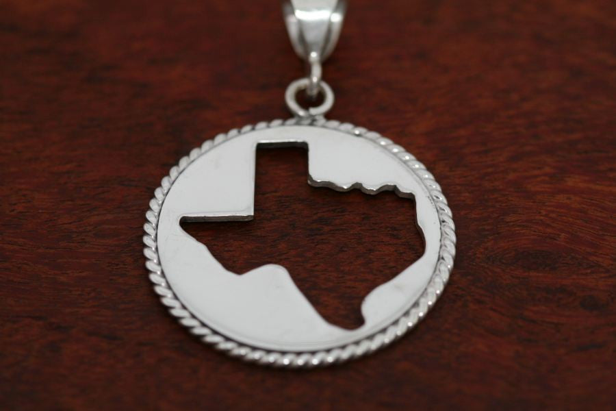 Texas Map Silhouette with a Rope Trim in Sterling-Large