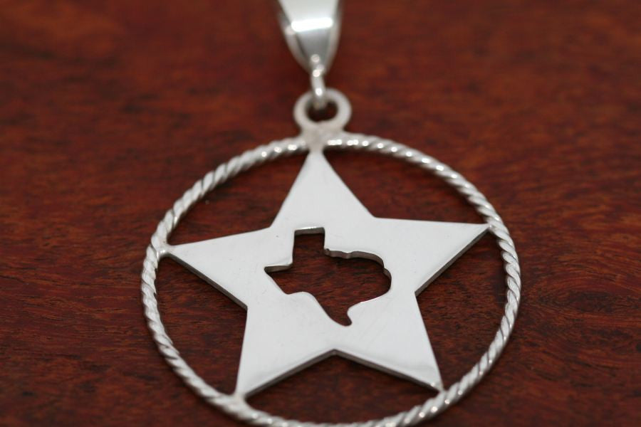 Texas Map Silhouette on Extra Large Star with Rope Trim