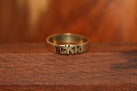 Handcarved Wedding Band Ring in Brass