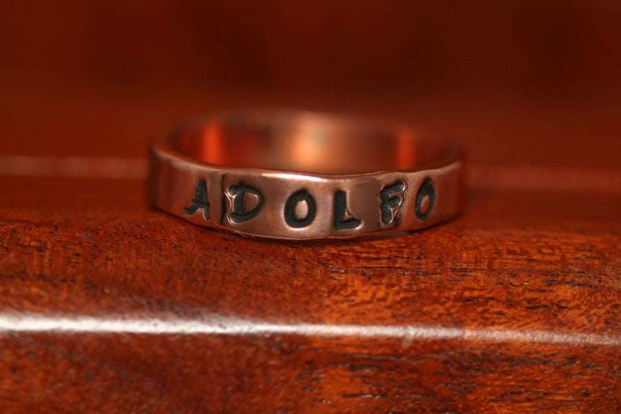 Wedding Band Ring in Copper-Stamped