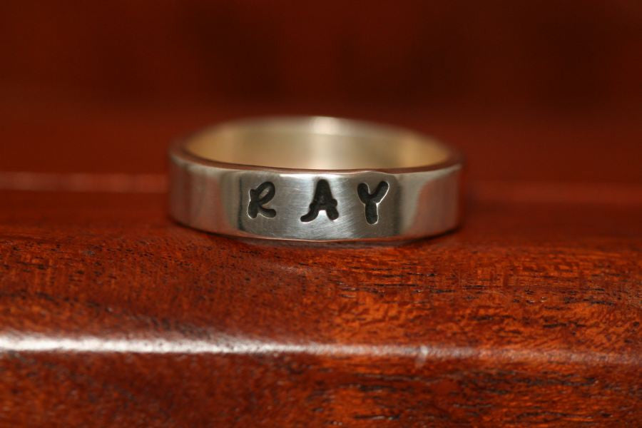 Wedding Band Ring in Nickel-Stamped