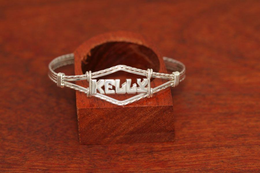Sterling Silver Wire Bracelet with Single Plate