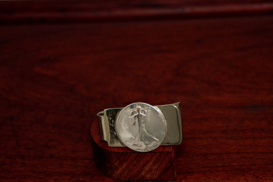 Walking Lady Silver Half Dollar Coin on a Money Clip