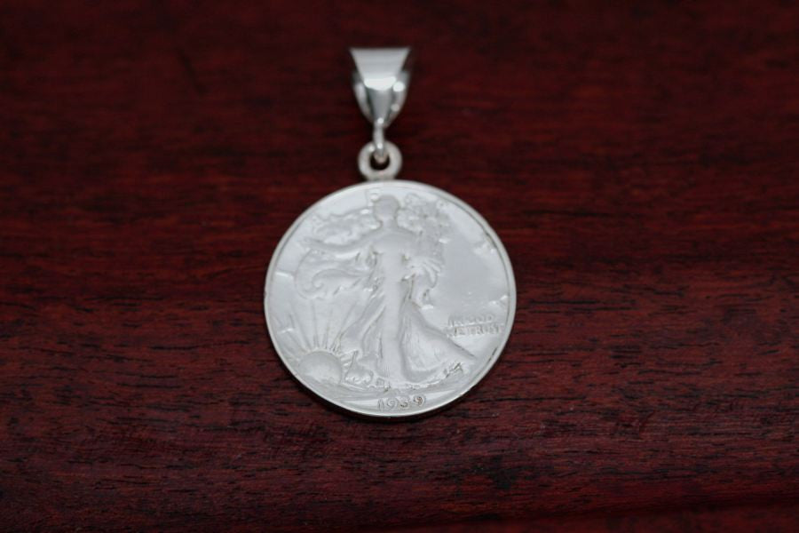 Walking Lady Silver Half Dollar Coin Pendant