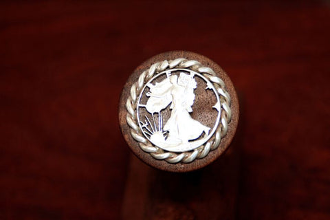 Walking Lady Silver Half Dollar, Handcut with Rope Trim, Coin on a Wine Stopper