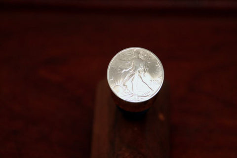 Walking Lady Silver Half Dollar Coin on a Wine Stopper