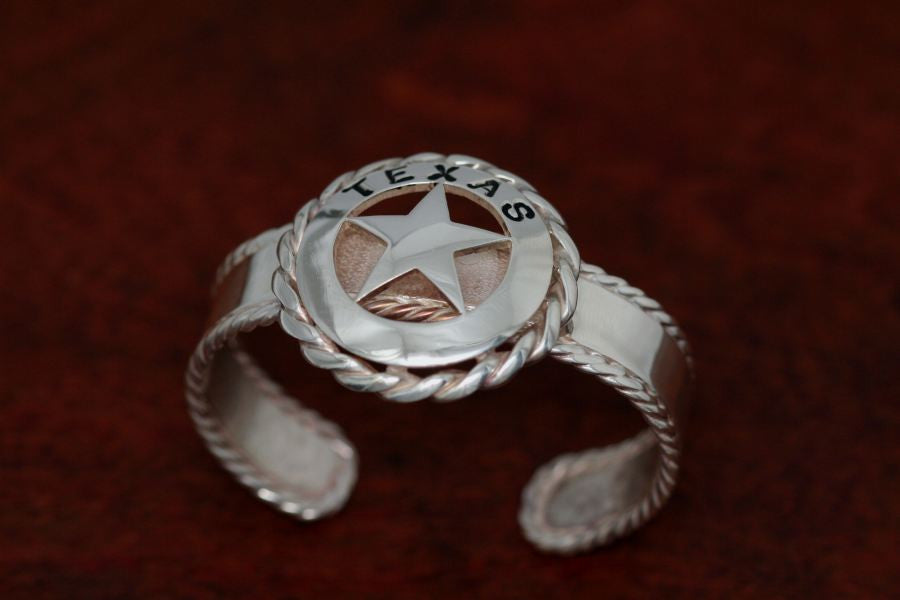 Walking Lady Star with Rope Trim on a Small Cuff Bracelet