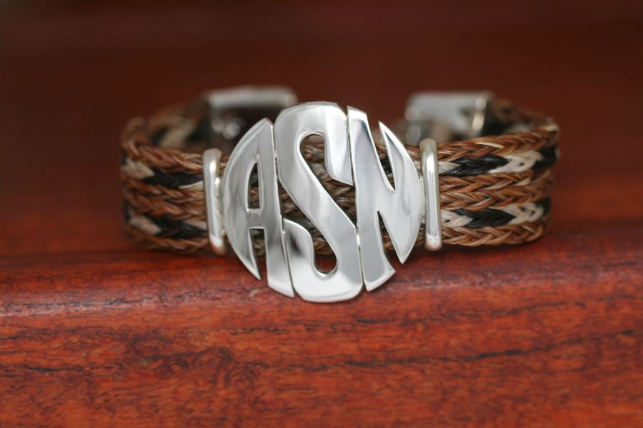 Extra Large Monogram Charm on a Casual Upscale Bracelet