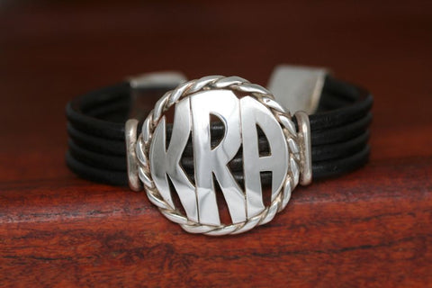 Extra Large Monogram Charm with Rope Trim on a Casual Upscale Bracelet