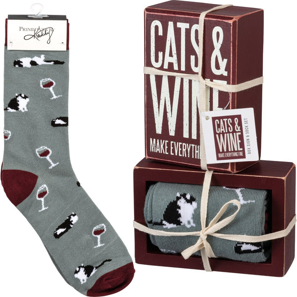 Box Sign & Socks Set - Cats & Wine