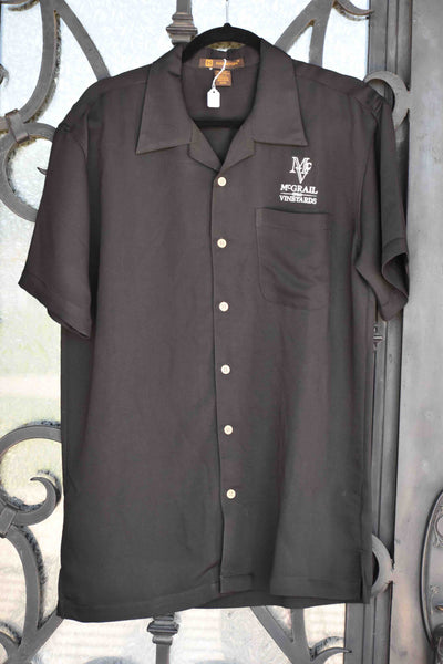 Men's Black Harriton Bahama Cord Camp Logo Shirt