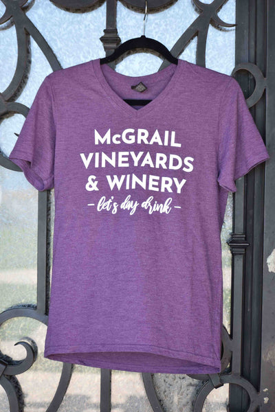 "Unisex Purple ""Let's Day Drink"" McGrail Vineyards Tee"