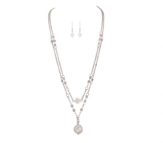 Necklace Set - Silver Disc Chain Pearl