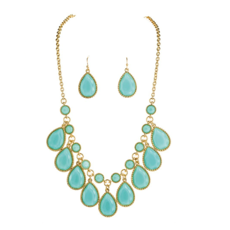 Necklace Set - Gold Blue Green Drops