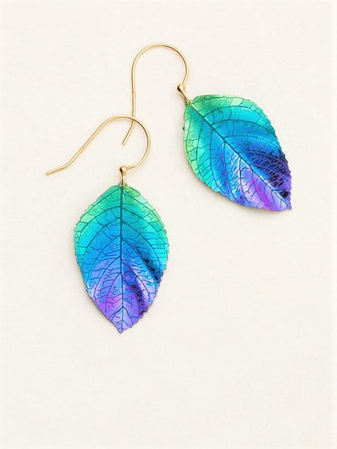 Green to blue to purple realistic elm leaf earring on a gold wire